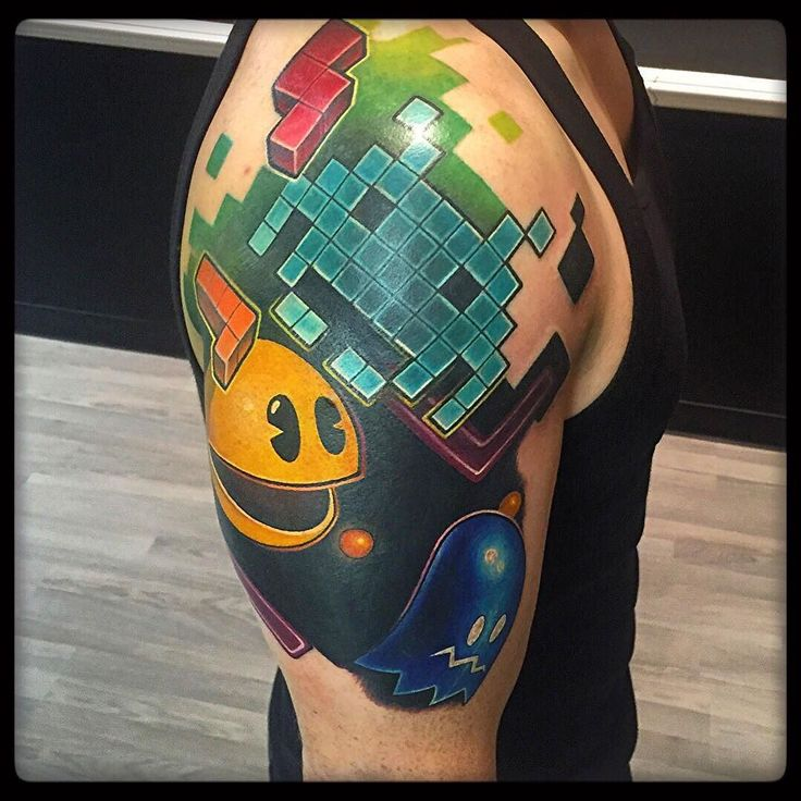 On instagram by scanzilla #atari2600 #microhobbit (o) http://ift.tt/21iWca1 two complete. Thank you @raptorlazer ! #tattoo #tetris #ghost #pacman #spaceinvaders #atari #vintagegames #classicgaming #oldschool