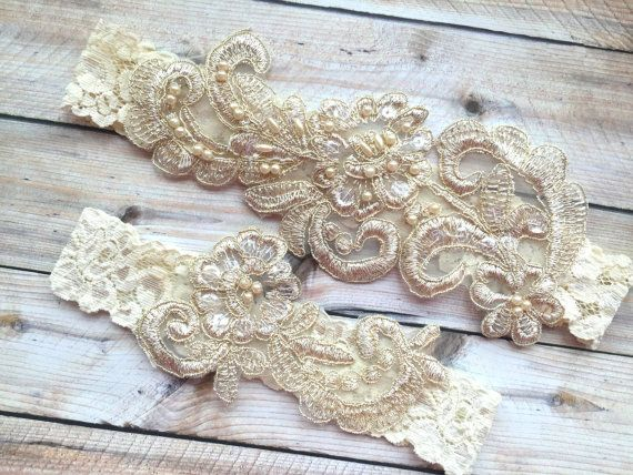 Gold Lace Garter Set, Elfenbein Lace Braut Strumpfband Braut Strumpfband festgelegt, Braut Strumpfband, Strumpfbänder Gold, Lace Strumpfbänder, wulstige Strumpfbänder Perle Strumpfbänder