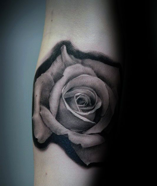 90 Realistic Rose Tattoo Designs For Men - Floral Ink Ideas | Realistic rose tattoo, Rose tattoo ...