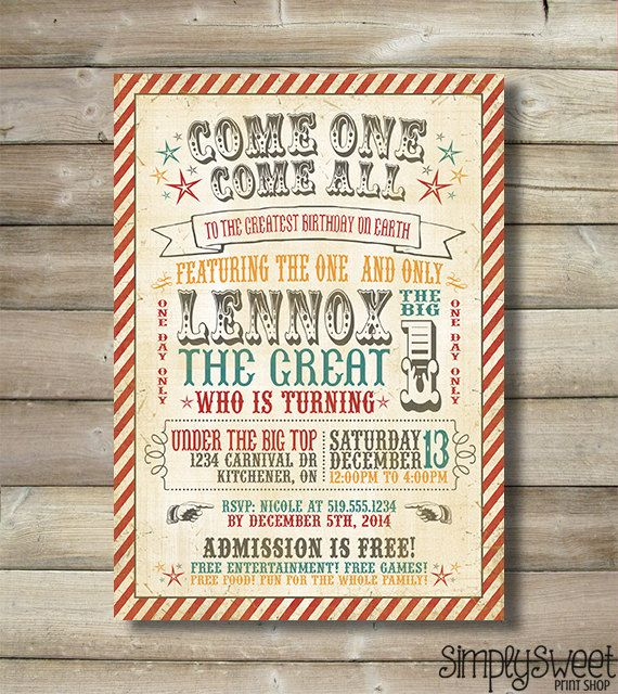 25 best ideas about Circus invitations – Circus Party Invites