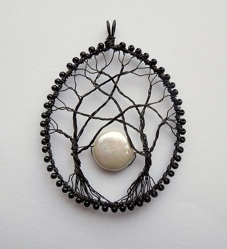 """The last pinner said: """"wirework Moonrise"""" - I really enjoy the look of wire trees, though this pendant would have to be quite tiny for me to be willing to wear it."""