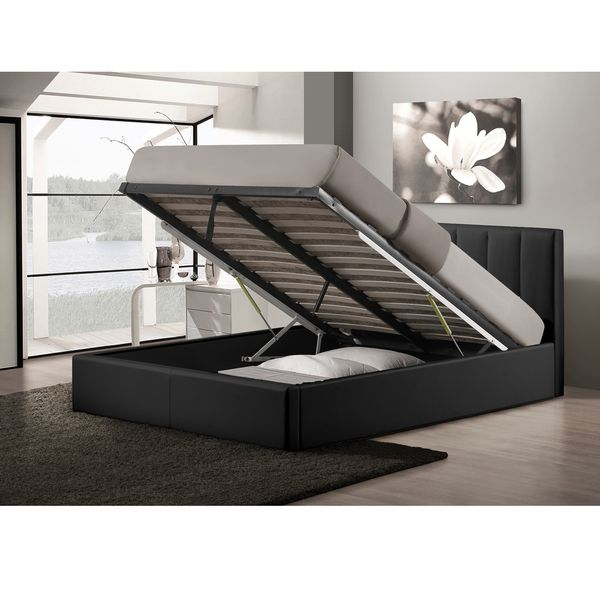 Templemore Black Leather Contemporary Queen Size Gas Lift Storage Platform Bed