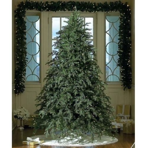 Artificial Christmas Tree Pre-Lit  Stand 7.5 FT Fir Pine Cones Clear LED Lights