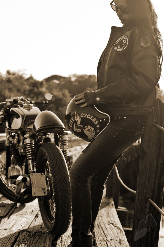 ivona cafe racer helmet, motorcycle jacket, and cafe racer motorcycle | dime city cycles