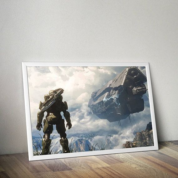 Halo Inspired Poster Print | Poster | Wall Art | Video Game Art | Video Game Poster | Digital PrintGamer Gift, Boyfriend Gift