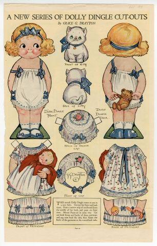 Dolly Dingle magazine paper doll by Grace G Drayton, 1919