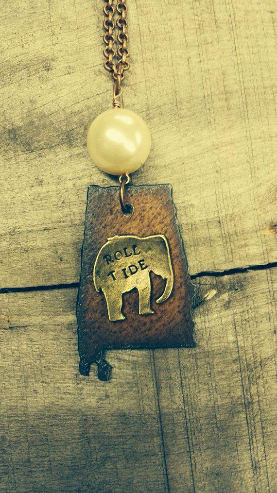 Beautiful Steel Roll Tide Alabama Brass Elephant necklace  on Etsy, $32.00
