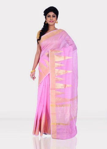 Pink Kora silk Saree With Blouse