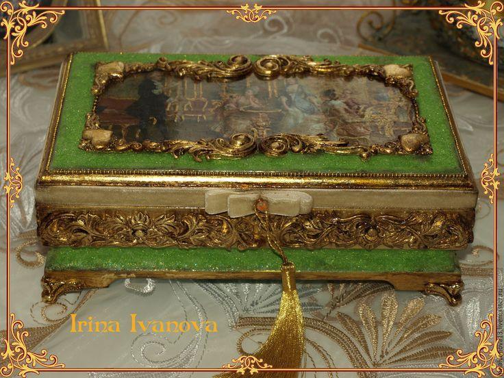 Купить Шкатулка для украшений Литературный салон Золотого века. Подарок даме - шкатулка для украшений