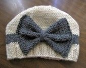 CHILDRENS / BABY SIZE -- Vintage Looking Cream and Gray Bow Hat