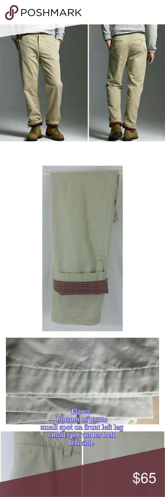 Men's J.Crew Flannel Lined Khakis Looking for some really comfy and warm pants? Look no further!! These J.Crew khakis are heavy and thick. Fully red plaid flannel lined.  Size 32x34 Flaws shown in pictures J. Crew Pants Chinos & Khakis