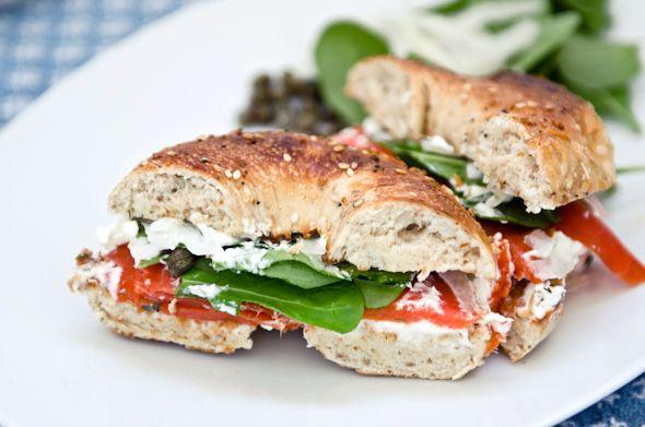 yummm: Healthy Breakfast Sandwiches, Perfect Smoke, Sandwiches Recipes, Healthy Food Blog, Smoke Salmon Sandwiches, Leaves, Bagels, Smoked Salmon Sandwich, Cream Cheeses