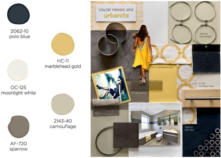 Urbanite paint color palette- Benjamin Moore Color Trends 2013.