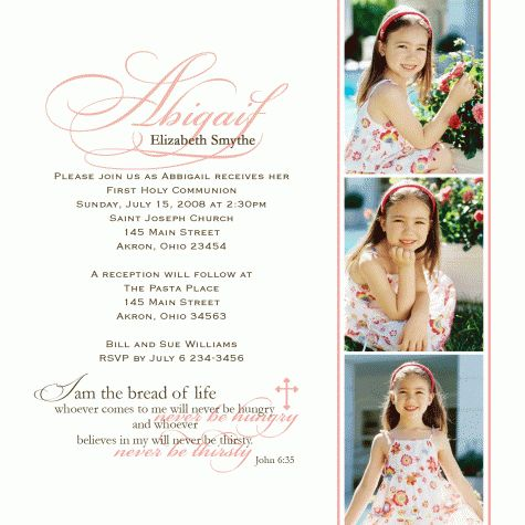 1st Communion Photo Invitations ~ Custom
