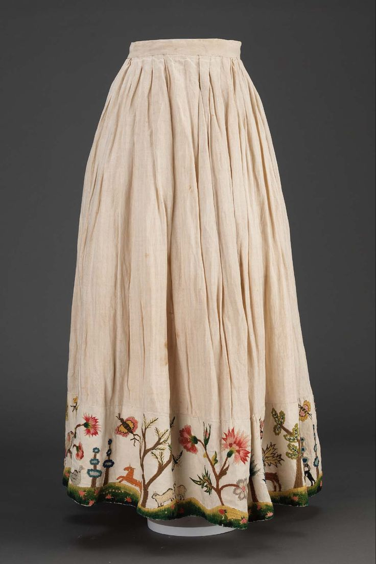 Linen petticoat with wool embroidery // Flora and fauna detail on hem // American (colonial Vermont), mid 18th century | Museum of Fine Arts, Boston