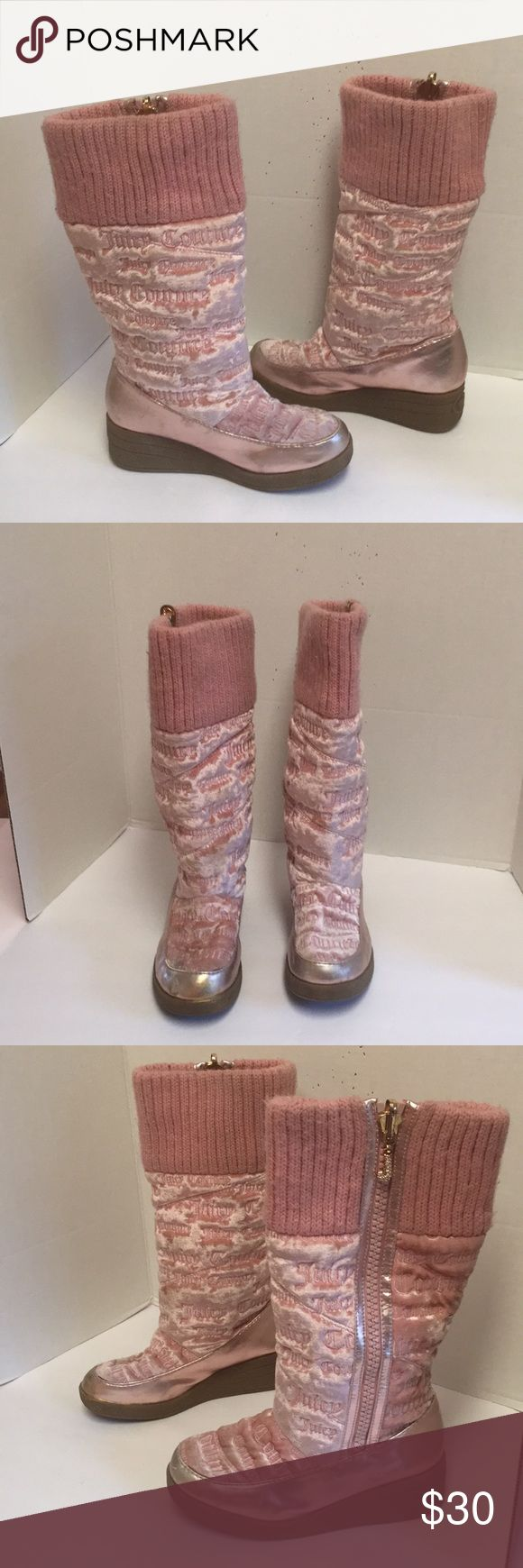 Juicy couture pink monogram boots Super cute pair of girls size for Jessica tour pink boots. Below are like fabric with patent leather metallic pink trim. Wedge heel. Zipper with signature zipper Paul. Super cute. They do have some scuff marks and some spiling at the top but still look great. Juicy Couture Shoes Boots