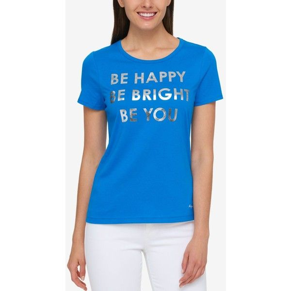 Tommy Hilfiger Be Happy Metallic Graphic T-Shirt, ($40) ❤ liked on Polyvore featuring tops, t-shirts, blue orchid, crew t shirts, short sleeve tops, blue t shirt, metallic t shirt and tommy hilfiger t shirt