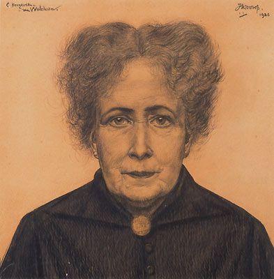 Jan Toorop ~ C. Hoogeveen van Walcheren, 1920 (crayon on board)