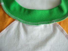 Стежки ведут минутам счёт: МК обработка горловины футболки трикотажной бейкой