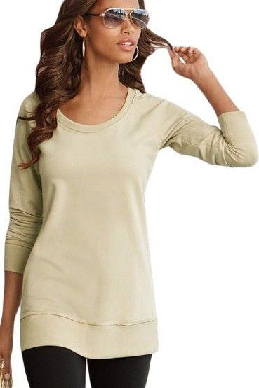 Prix: €14.59 Sweat-shirt Manches Longues Encolure Degagee Beige Femmes Pas Cher www.modebuy.com @Modebuy #Modebuy #Beige #me #femme