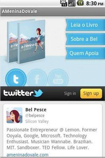 Uma das telas do aplicativo 'A Menina do Vale'.