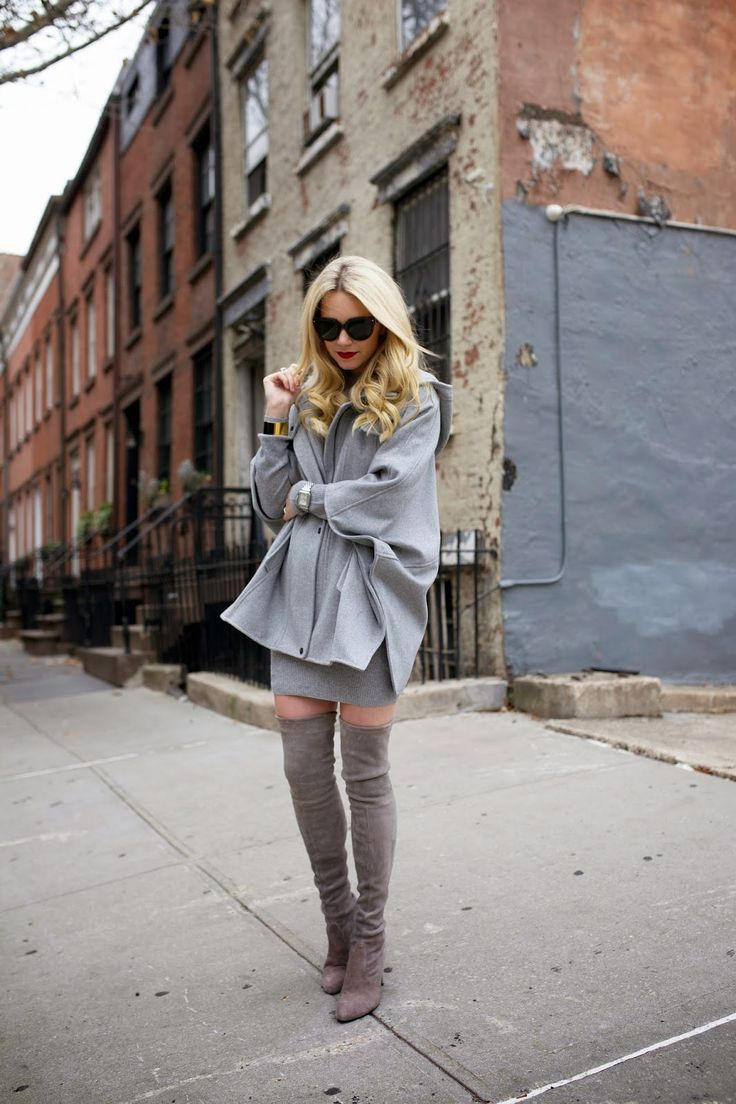 All grey with knee high boots http://rstyle.me/n/rpvte4ni6 - Find 150+ Top Online Shoe Stores via http://AmericasMall.com/categories/shoes.html: