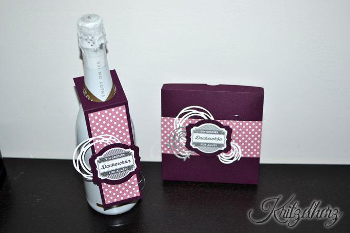 Geschenkset, Stampin' Up!, Kritzelherz, Brombeermousse, Zarte Pflaume, Flaschenanhänger, Pralinen Verpackung, Wunderbar verwickelt