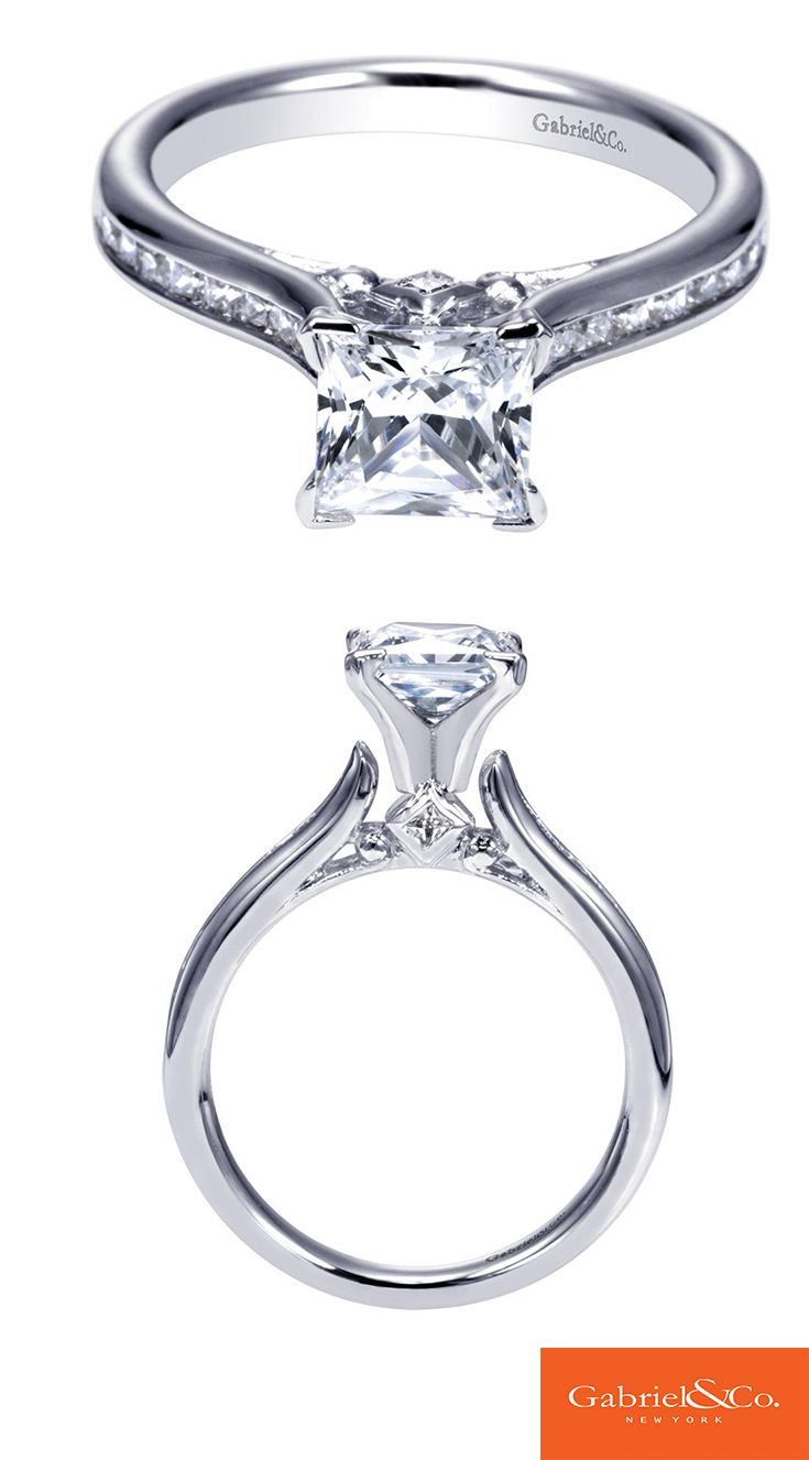 Beauty in simplicity. A 14k White Gold Diamond Straight Engagement Ring from Gabriel & Co.
