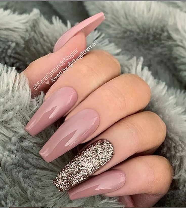 50 Pretty French Pink Ombre And Glitter On Long Acrylic Coffin