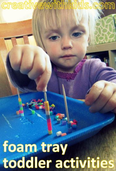 Engaging and simple toddler activity ideas - with foam trays. Great fine