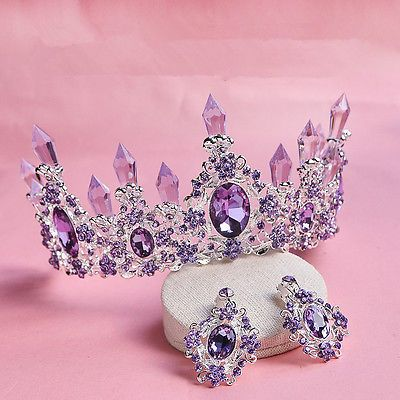 Vintage Wedding Bridal Purple Crystal Headband Crown Tiara Earrings Jewelry Set