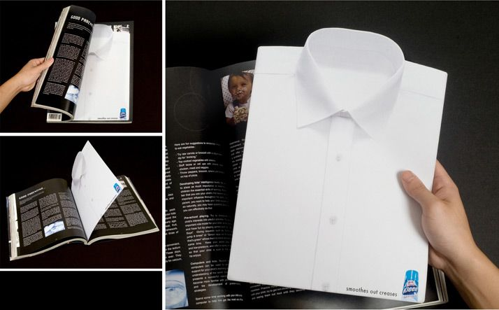 A flat die-cut shirt was printed on paper and inserted into a popular lifestyle publication – giving the impression that the shirt had been flattened