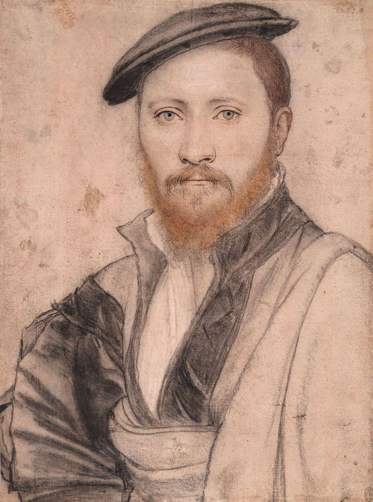 Hans Holbein, date1535 (a preparation study for a known 'portrait of a man' in the Royal Collection - it has been suggested this is Sir Ralph Sadler (or Sadleir) (b.1507 – d.1587) Secretary of State for King Henry VIII who would have been 28 at the time. | Royal Collection Trust