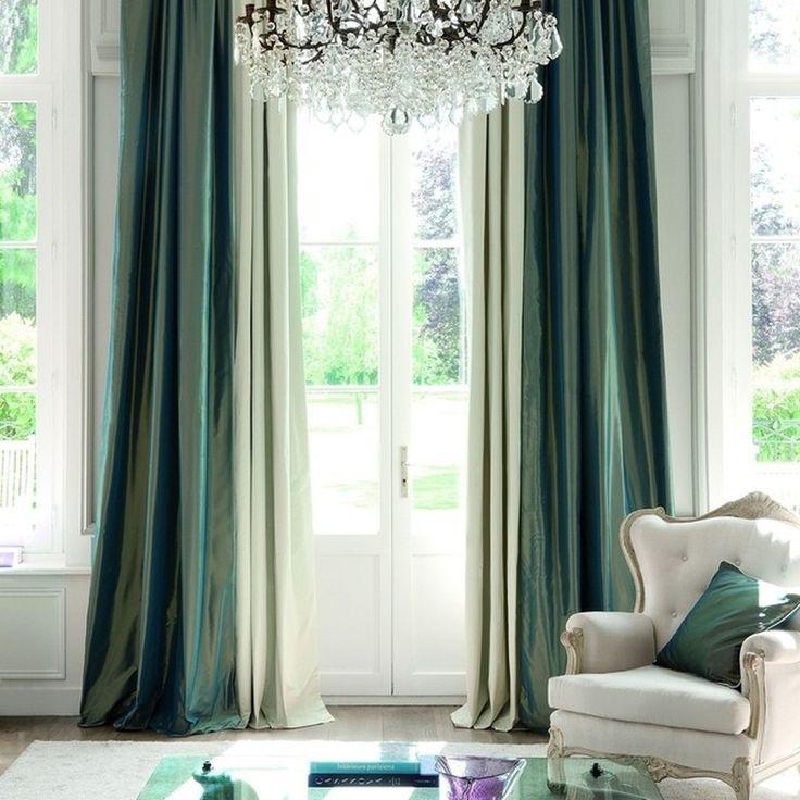 зеленые #шторы сделают #интерьер уютнее, #тафта #LUSTRE #galleria_arben #fabric #decoration #windows #декорокна
