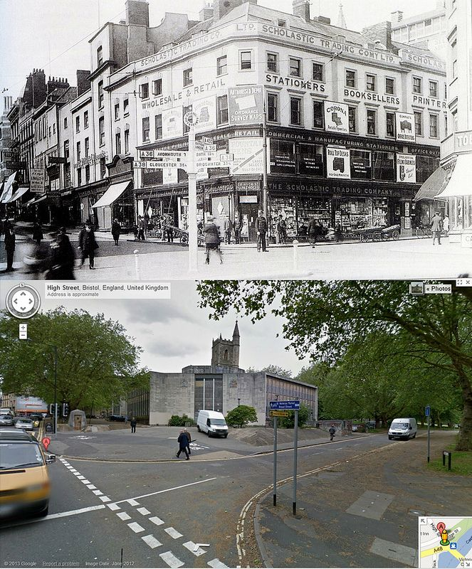 Bristol Then & Now - corner of High Street & Bridge Street