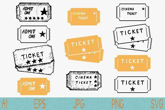 Cinema Ticket Set Vector Svg Png Cinema Ticket Svg Ticket Design