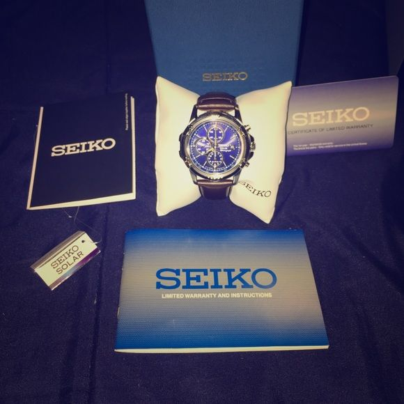 Seiko Solar Chronograph Watch Hi! I'm Edward. This marvelous Seiko Solar Watch has never once been worn. It is a Chronograph Watch with solar capability meaning no battery. The strap is brown leather meaning one size fits all. Great time piece! Seiko Accessories Watches