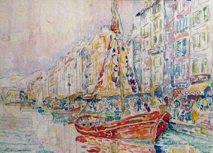An Old port of Marseille by Paul Signac (1863-1935, France)