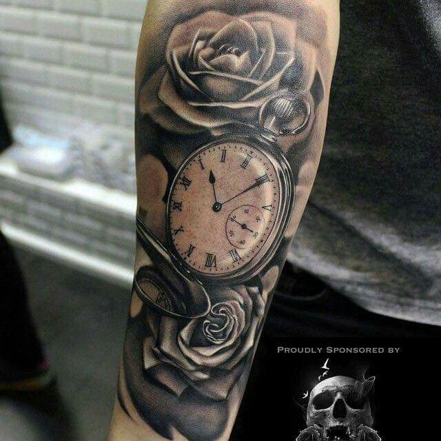 Pocketwatch with Roses tattoo