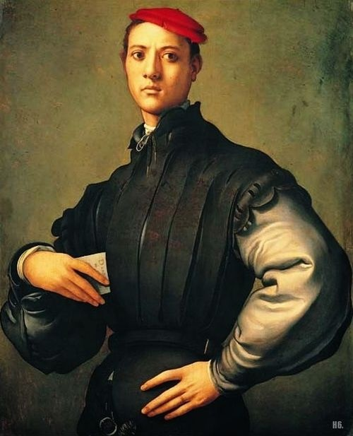 Portrait of a young man in red cap. 1529. Jacopo Pontormo. Italian…