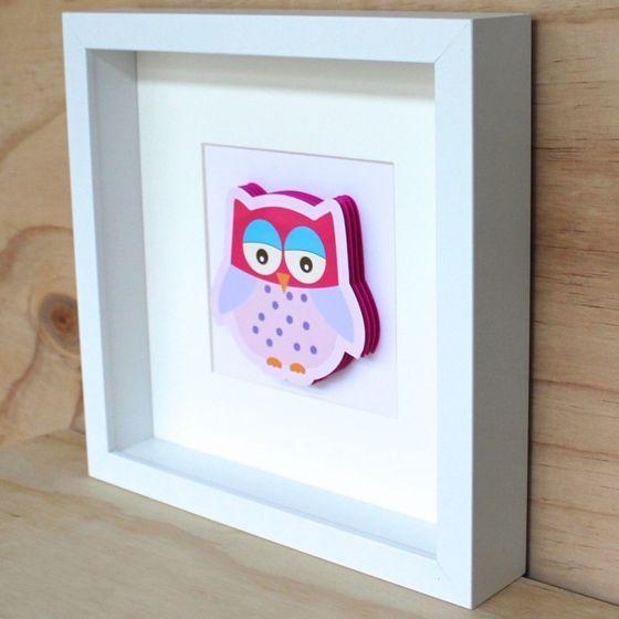 Image of 3D Sweet Pink Owl No. 5 Frame