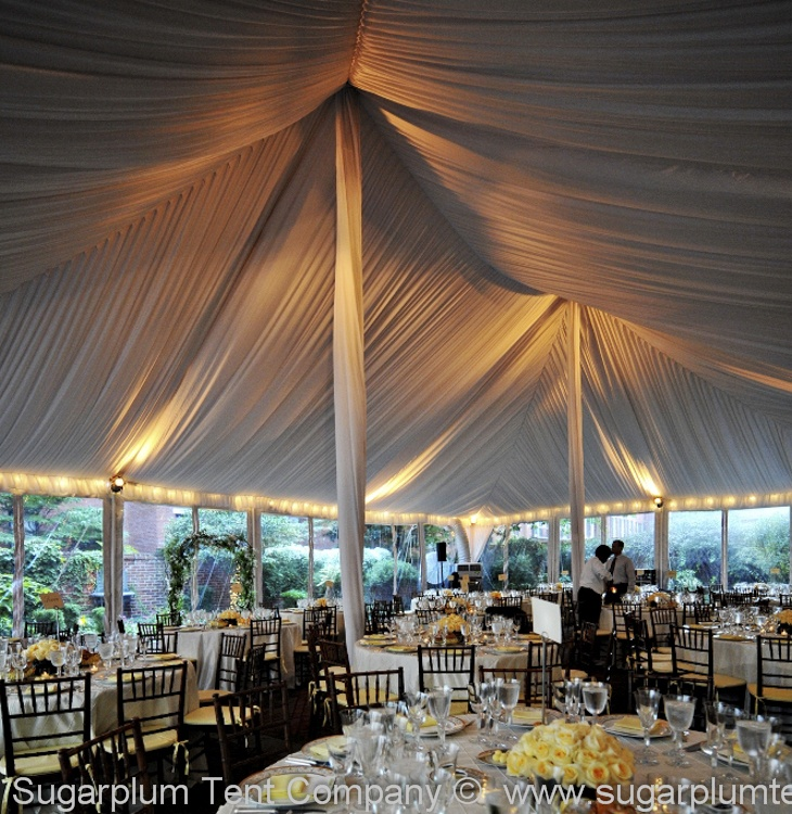 This white pole tent has streamer perimeter lighting combined with uplighting which work well together : pole tent lighting - memphite.com