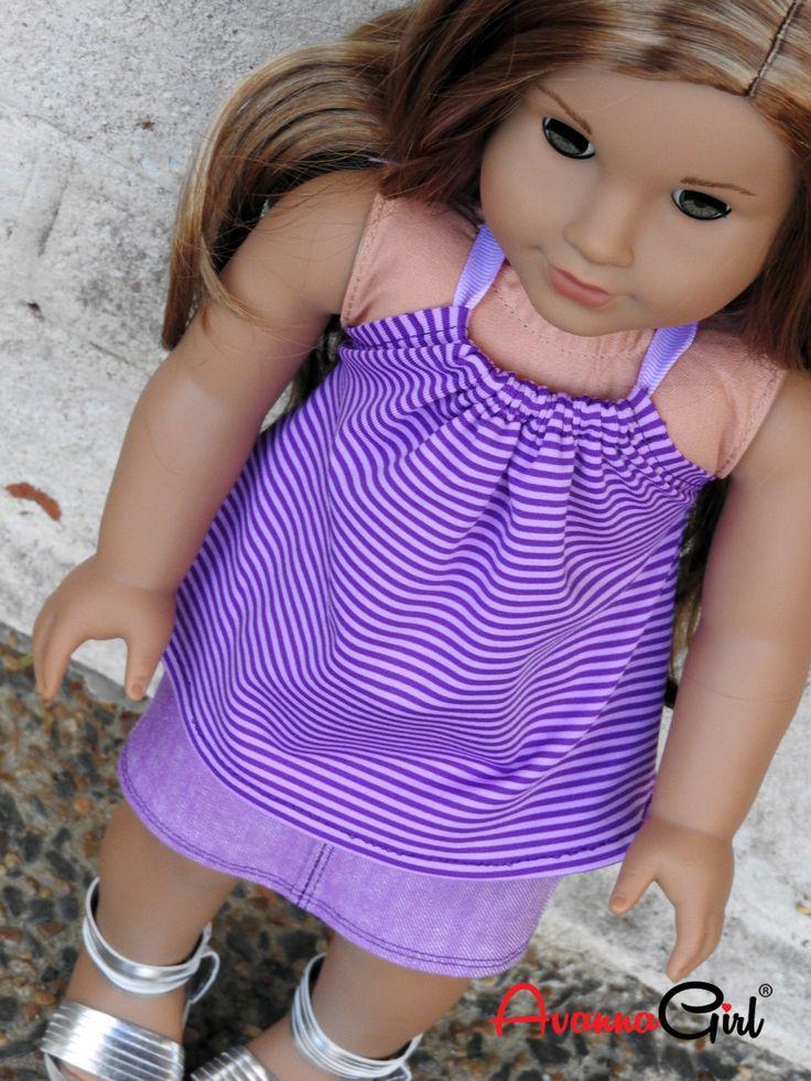 American Girl Doll® Clothes Handmade Purple Denim Mini Skirt and Striped Halter Top