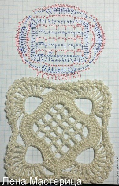 Crocheting a beautiful square motif