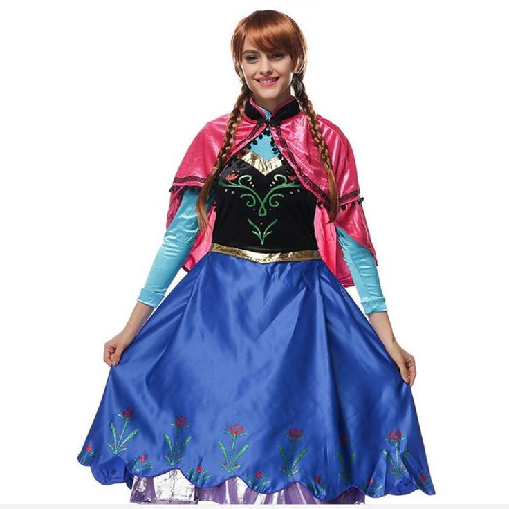 2017 Princess Anna Elsa Dress Anna Costume Adult Snow White Gown Princess Anna Cosplay with Cape Halloween Costume For Women