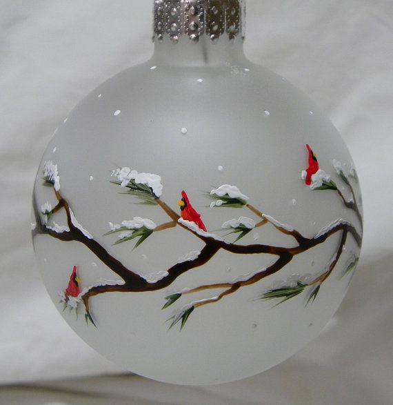 Christmas Ornament Cardinals on Branches by MaineWeddingArtist