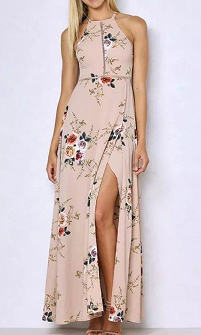 4f28e5909eb Total Devotion Floral Pattern Sleeveless Halter Cut Out Back Side Slit  Casual Maxi Dress - 3 Colors Available