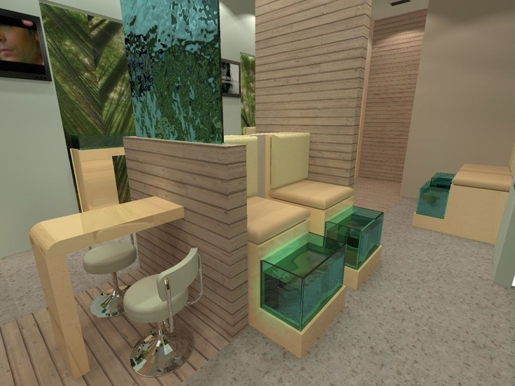 It's about a fish spa project in Rhodes island showing our proposal concerning the transformation of an empty space into a relaxing and well designed space
