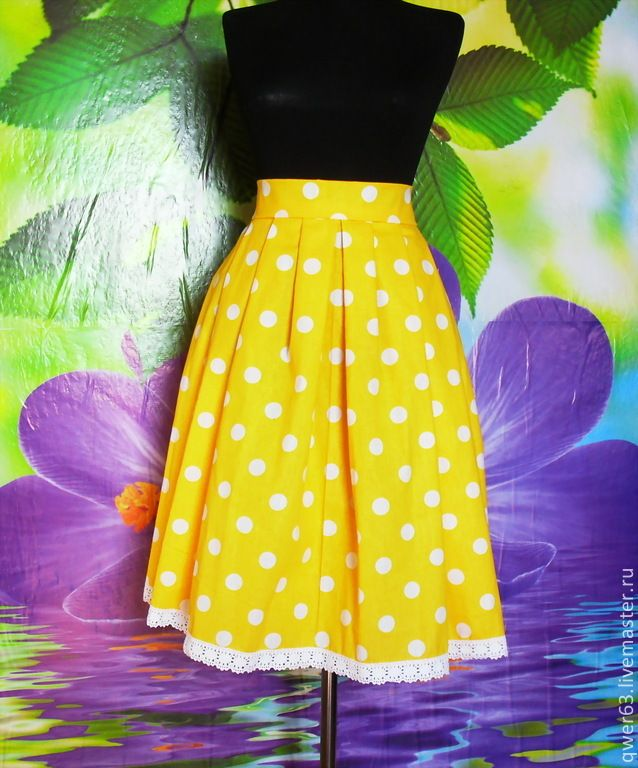 Юбка летняя из хлопка,желтая в горох,стиль 60-х - желтый,в горошек,в горох