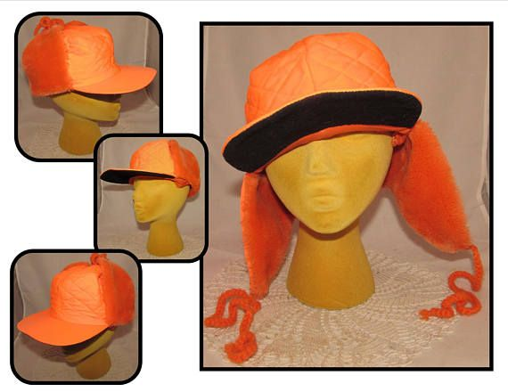 Vintage Bright Orange Quilted Hunters Outdoors Hat with Faux